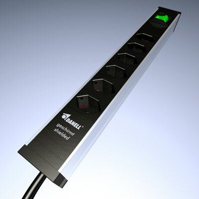 Shielded Power Strip with 6 sockets for Swiss plugs