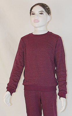 Kinder Sweat Shirt Bio-Baumwolle, Silber-Sweat Shirt Gestrick Bordeaux