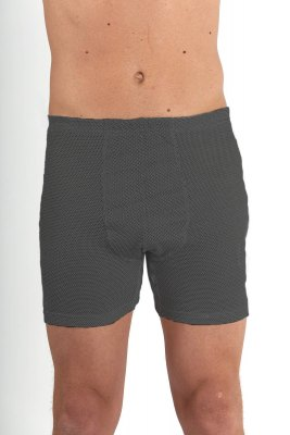 Men's Boxer Shorts Anthracite Organic BW with Silver Knit