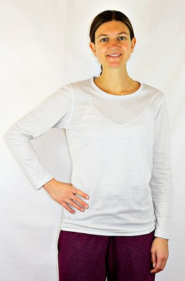 Ladies Undershirt Long Sleeve Cotton with Silver Knit White