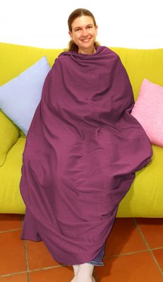 Shielding blanket 160x180cm in organic cotton and sweat shirt bordeaux 24dB at 5G 3.5GHz