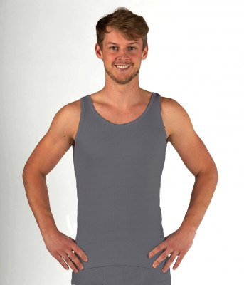 Men's Tank top anthracite organic cotton with silver knit 29dB at 1 GHz