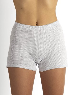 Ladies' panty white organic cotton with silver knitted fabric