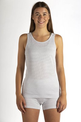 Ladies Tank Top Cotton with Silver Knit White