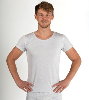 Men's vest short-sleeved white organic cotton silver knit