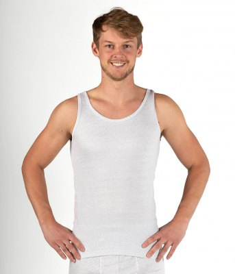 Men's Tank top white organic cotton with silver knit