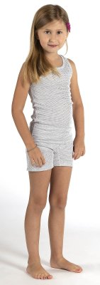 Girls Panty white organic cotton silver knit
