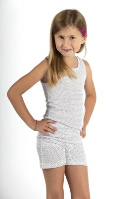 Girls' Tank top Undershirt white Organic cotton  Silver Knit