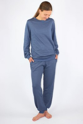 Ladies Leisure Suit Organic Cotton, Silver Sweat Shirt Knitted Anthracite