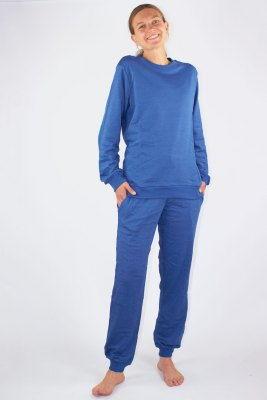 Ladies Leisure Suit Organic Cotton, Silver Sweat Shirt Knitted Royal Blue