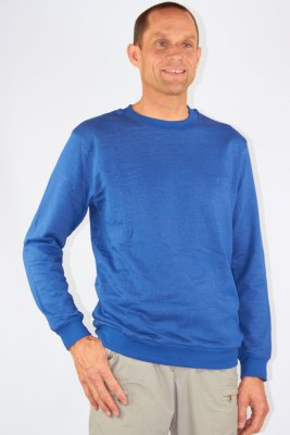Herren Sweat Shirt Bio-Baumwolle Silber-Sweat Shirt Gestrick Royalblau