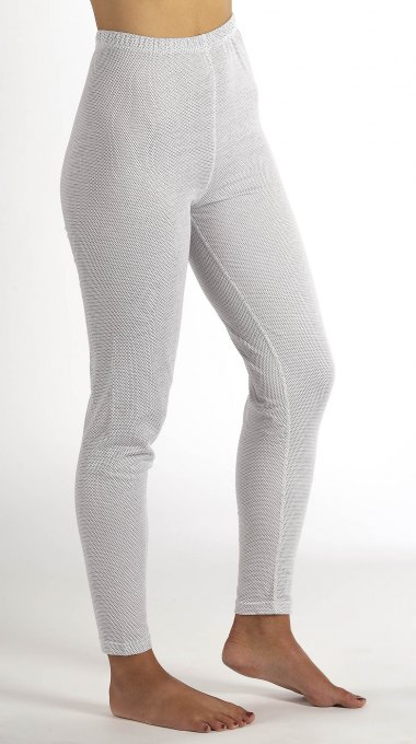Ladies Leggings white organic cotton with silver knitted fabric