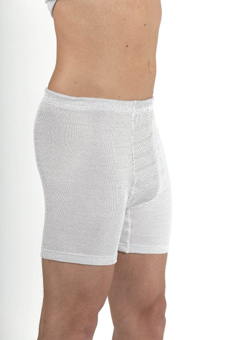 Men's Boxer Shorts white cotton with silver knit