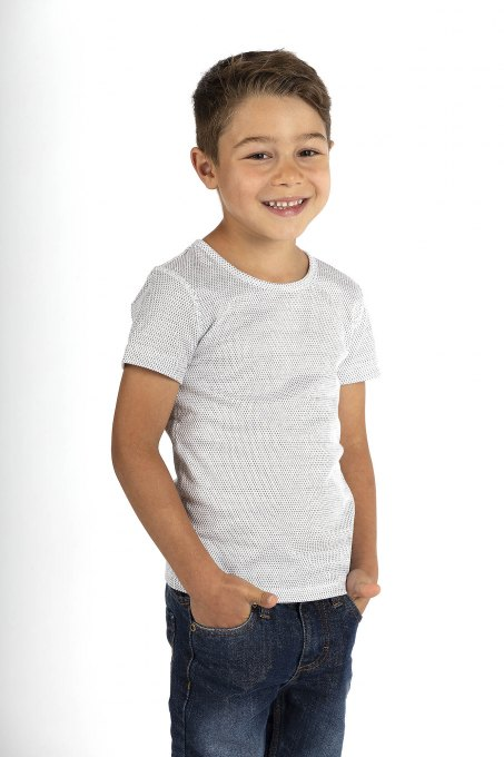 Boys' vest short sleeve white organic cotton silver knitted