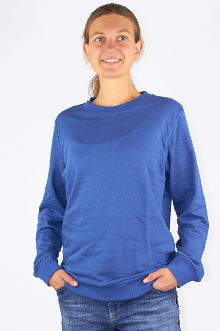 Ladies Sweat Shirt Organic Cotton Silver Sweat Shirt Knitted Royal Blue