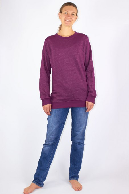 Damen Sweat Shirt Bio-Baumwolle Silber-Sweat Shirt Gestrick Bordeaux