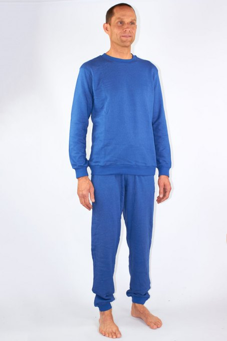 Mens Leisure Suit Organic Cotton Silver Sweat Shirt Knitted Royal Blue